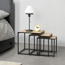 [en.casa] Beistelltisch Set 3-tlg. Couchtisch Tischset Wohnzimmer Tisch Eiche