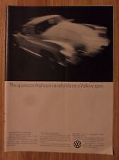 1970 Print Ad Volkswagen VW Karmann Ghia Automobile ~ Reliable Sports Car