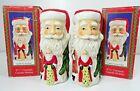 "Vintage Santa Claus Candle Stick Holder Ceramic 4 1/2"" Tall Pair"