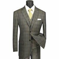 VINCI Men's Olive Green Windowpane 3 Piece 2 Button Classic Fit Suit NEW