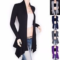 Stunning Knit Ribbed Asymmetric Hem Cardigan Sweater Jacket