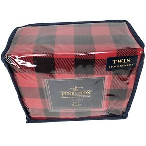 Pendleton Rob Roy Red & Black Plaid 100% Cotton 4 Pc. Flannel Sheets, Twin