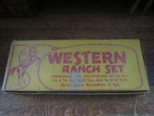 Vintage Marx 1950's  Western Ranch Playset with Bar-M-Bar Cabin & original Box