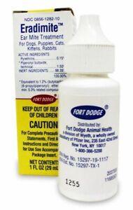 Eradimite 1oz Ear Mites Treatment & Wax & Ticks removal For Dog Cat Rabbit Puppy