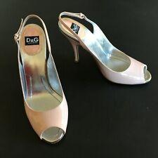 D & G Dolce&Gabbana nude patent leather sandals - 40 - peep toe slingback pumps