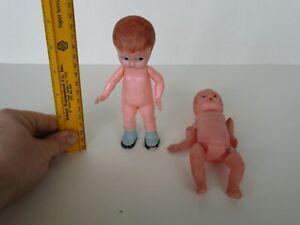 "Vintage Knickerbocker Rattle Celluloid & Jointed Japan Toy Boy Dolls (6"")"