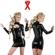 Late X Zip Sexy Latex Mini Dress Vestitino in Latice Aderenti con Cerniera Retro