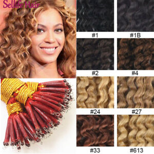 "16""-22"" Curly Fusion Keratin Nano Ring Beads I Tip Remy Human Hair Extensions"