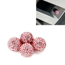 4 Pcs ABS PINK Crystal Diamond Wheel Tyre Valve Stem Caps Covers For ALL BRAND