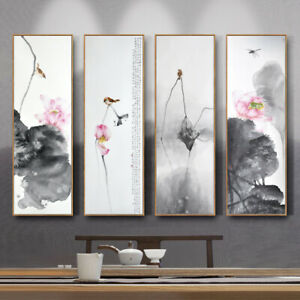 Lotus Flower Canvas Painting Poster Chinese Style Picture Home Art Decor Wall