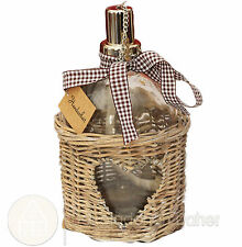 Öllampe im Korb mit Herz Windlicht Korb Rattan Antik Landhaus Shabby Vintage