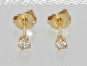 9ct Gold Real Diamond Solitaire Stud Earrings - Solid 9K Gold