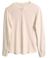 L.L. Bean Womens Henley Shirt Ivory Button Long Sleeve Stretch S