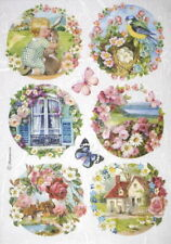 Rice Paper for Decoupage Scrapbook Craft Sheet - Floral landscapes