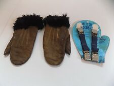 Antique Child's Leather Mittens & Vanity Fair Mitten Holders