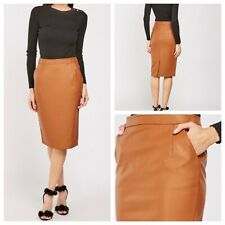 ATMOSPHERE Ladies Camel Skirt Size 20 Faux Leather Pencil Wiggle Zip NEW