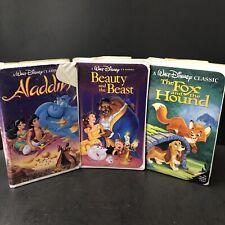 Lot of 3 Disney Black Diamond Classic Edition Vhs Beauty Aladdin Fox & Hound Vtg