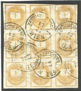 # HUNGARY. 1kr IMPERF NEWSPAPER STAMPS. USED BLOCK OF NINE WITH WIEN CANCELS