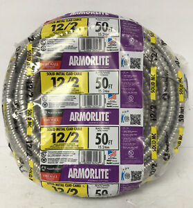 Southwire Armorlite 12/2 Solid Metal Clad Cable Black/White 25' FREE SHIPPING