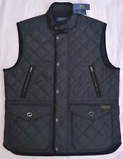 $225 New Small S POLO RALPH LAUREN Mens diamond quilted vest Black Gilet RL NWT