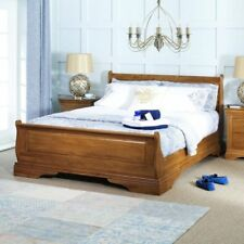 French Louis Solid Oak Super King Size Sleigh Bed- FL06