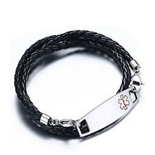 Vincenza 11mm Stainless Steel Plate ID Leather Wristband Medical Alert Bracelet