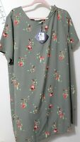Women's Dress Ava & Viv green floral  Plus Size 2X NWT
