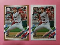 (2) 2021 Topps Series 1 Shohei Ohtani Gold Parallel SP /2021 + Base #150