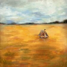GOLDEN SAIL ORIGINAL CANVAS OIL PAINTING LANDSCAPE Boat, Yacht, Field ~ Sbeeart