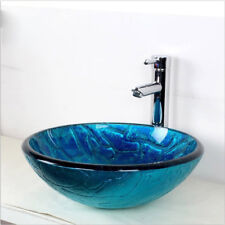 Blue Tempered Glass Countertop Round Bathroom Laundry Vanity Wash Basin Sink Art