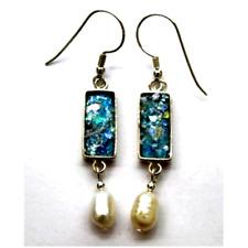 Sterling silver roman glass earrings pearls Israeli Jewelry