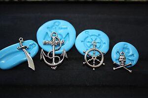 Pirate Silicone Push Mold Fondant Cake decoration Skull Wheel Sword Anchor NEW