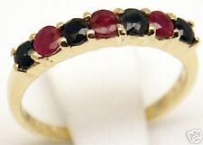 Beautiful Women 14k Gold Ruby Sapphire Ring, Sz 7
