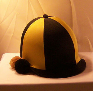 RIDING HAT COVER - BLACK & GOLD