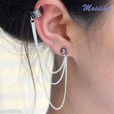 Punk Rock Silver Macrame Tassels Fringe Chain Clip on Ear Cuff Stud Earring Gift