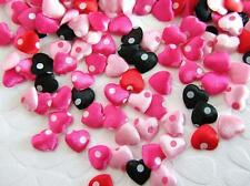 200 Pink Red Mix Satin Heart Applique/Polka Dot/valentine/craft/fabric/bow H560