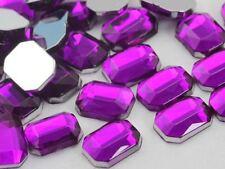 8x6mm Purple Amethyst H105 Flat Back Octagon Acrylic Gemstones - 100 PCS