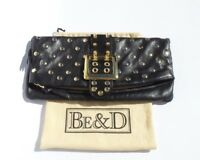 BE&D Black Lambskin Leather Gold Buckle Studded Fold Over Snap Flap Clutch $485