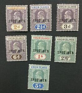 MOMEN: VIRGIN ISLANDS SG #56s-62s SPECIMEN 1904 MINT OG H LOT #191727-689
