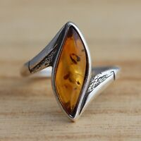 Cognac Baltic Amber 925 Sterling Silver Ring Marquise Baltic Amber Jewellery