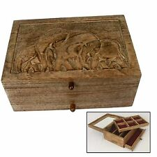 ELEPHANT VANITY JEWELLERY BOX WITH MIRROR/DRAWER/TRAY MANGO WOOD HAND CARVED