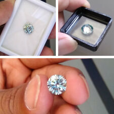 Brilliant Diamond Cut Real Moissanite For Ring 1.34 Ct 7.5 Mm Light Blue Round