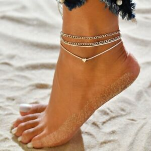 ANKLE BRACELET WOMEN 925 STERLING SILVER ANKLET FOOT CHAIN BEACH BEADS JEWELRY