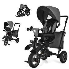 Babyjoy 7-In-1 Kids Baby Tricycle Folding Steer Stroller w/ Rotatable Seat Grey