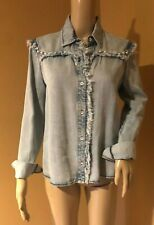 Generation Love Distressed Denim Pearl Embellished Button Down Top Size S