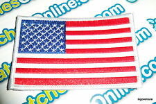 """USA American Flag Embroidered Iron- On Patch 2.5x4"""" White Border Applique"""