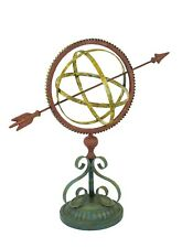 Iron metal Garden Arrow Armillary Sphere Sundial Rustic Multi Color