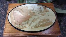 Wood Engraved Hand Painted Elk Scene Wood Box, Playing Card Box, Memory Box