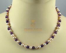 Perlenkette China-Zuchtperlen mit Amethyst Halskette Damen - Gemini Gemstones