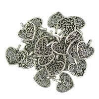 100pcs Love Heart Tibetan Silver Charms Bead Pendant DIY Jewelry Making